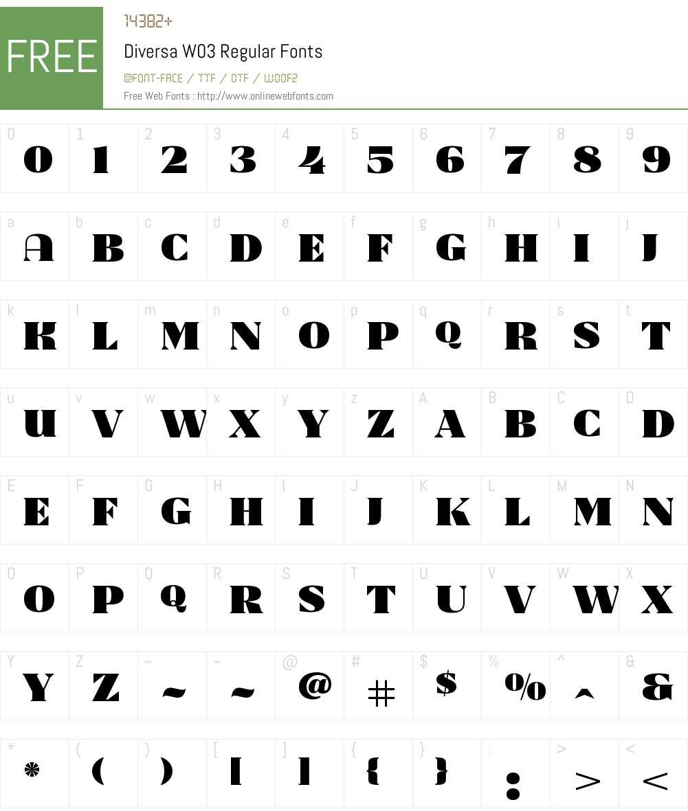 Diversa Font Screenshots