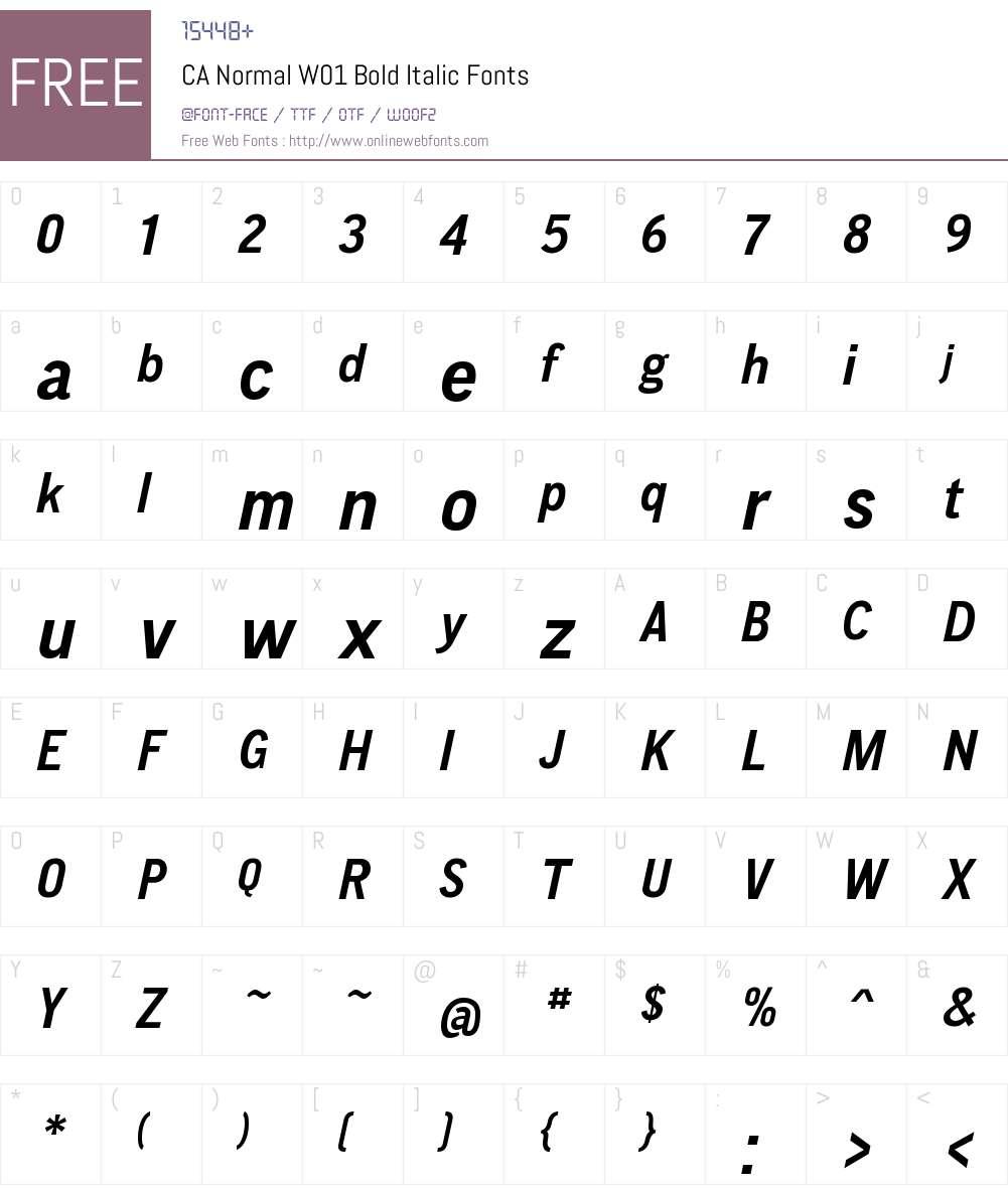 CANormalW01-BoldItalic Font Screenshots
