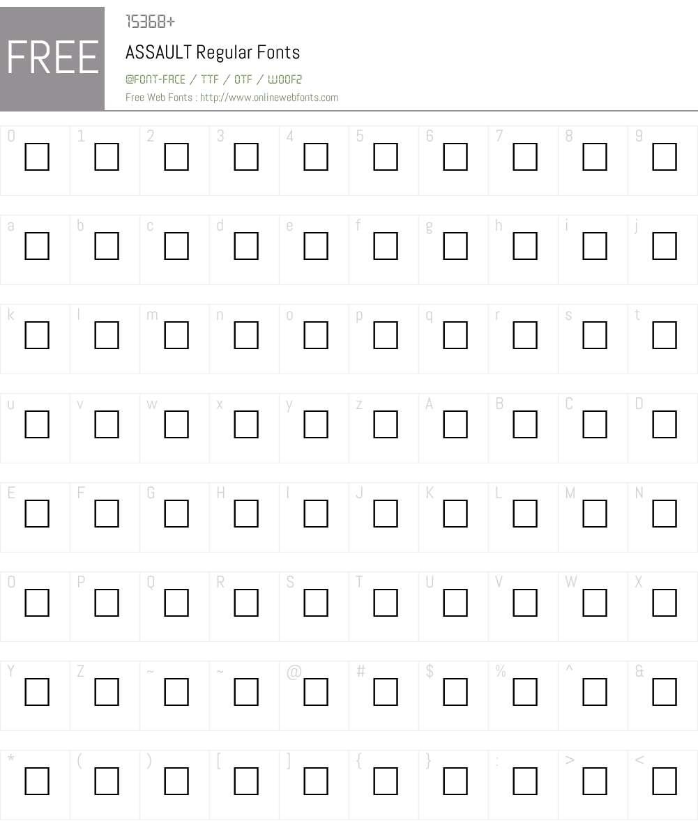 ASSAULT Font Screenshots