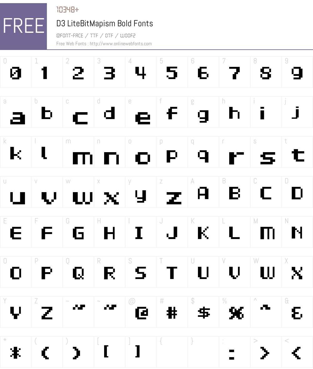 D3 LiteBitMapism Bold Font Screenshots