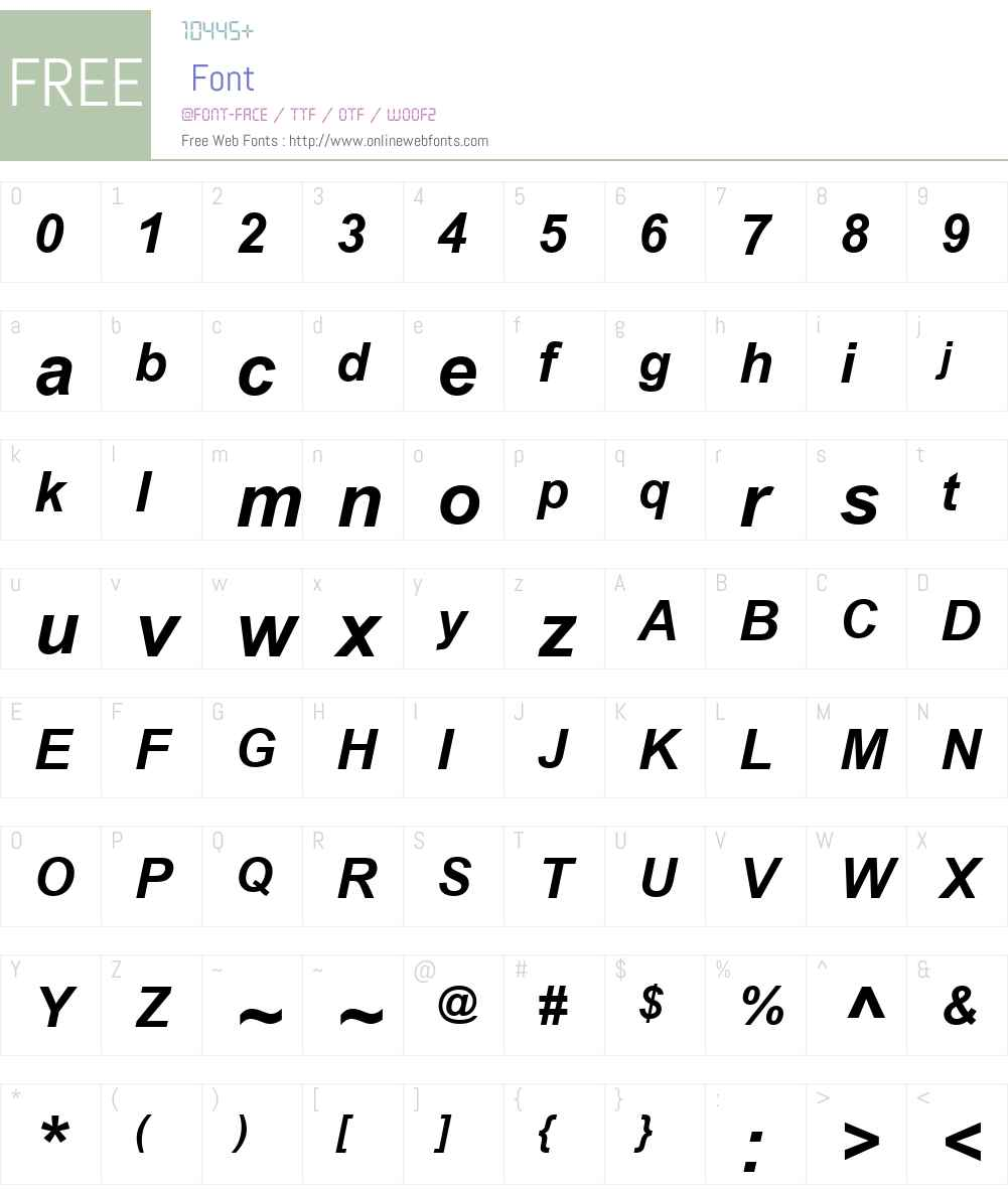 ArialW01-BoldItalic Font Screenshots
