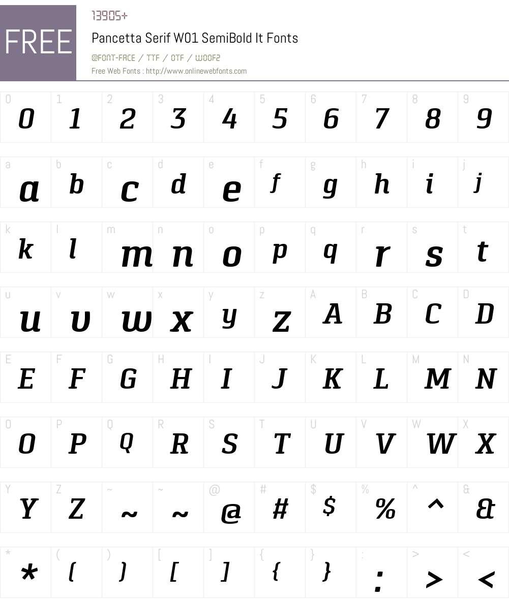 PancettaSerifW01-SemiBoldIt Font Screenshots