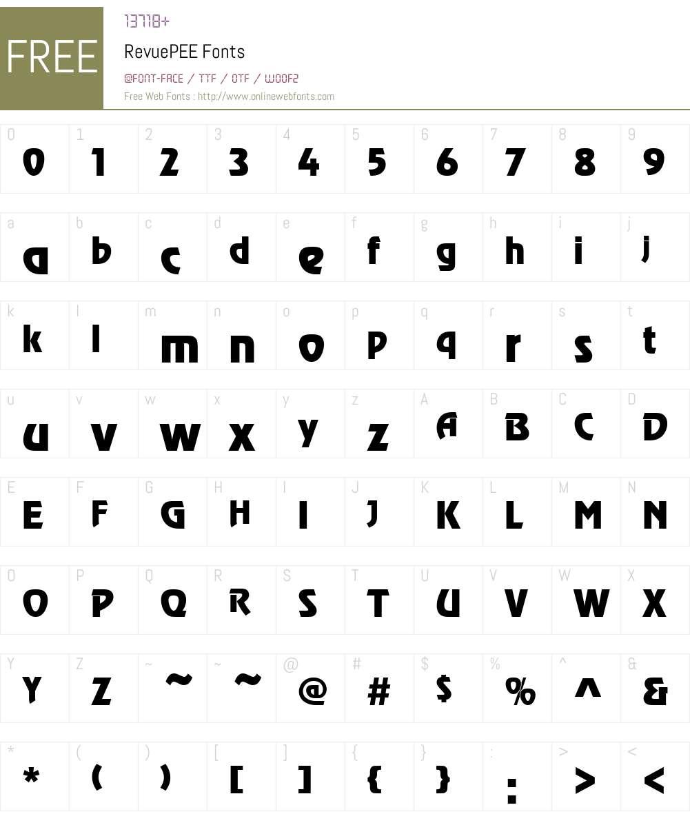 RevuePEE Font Screenshots