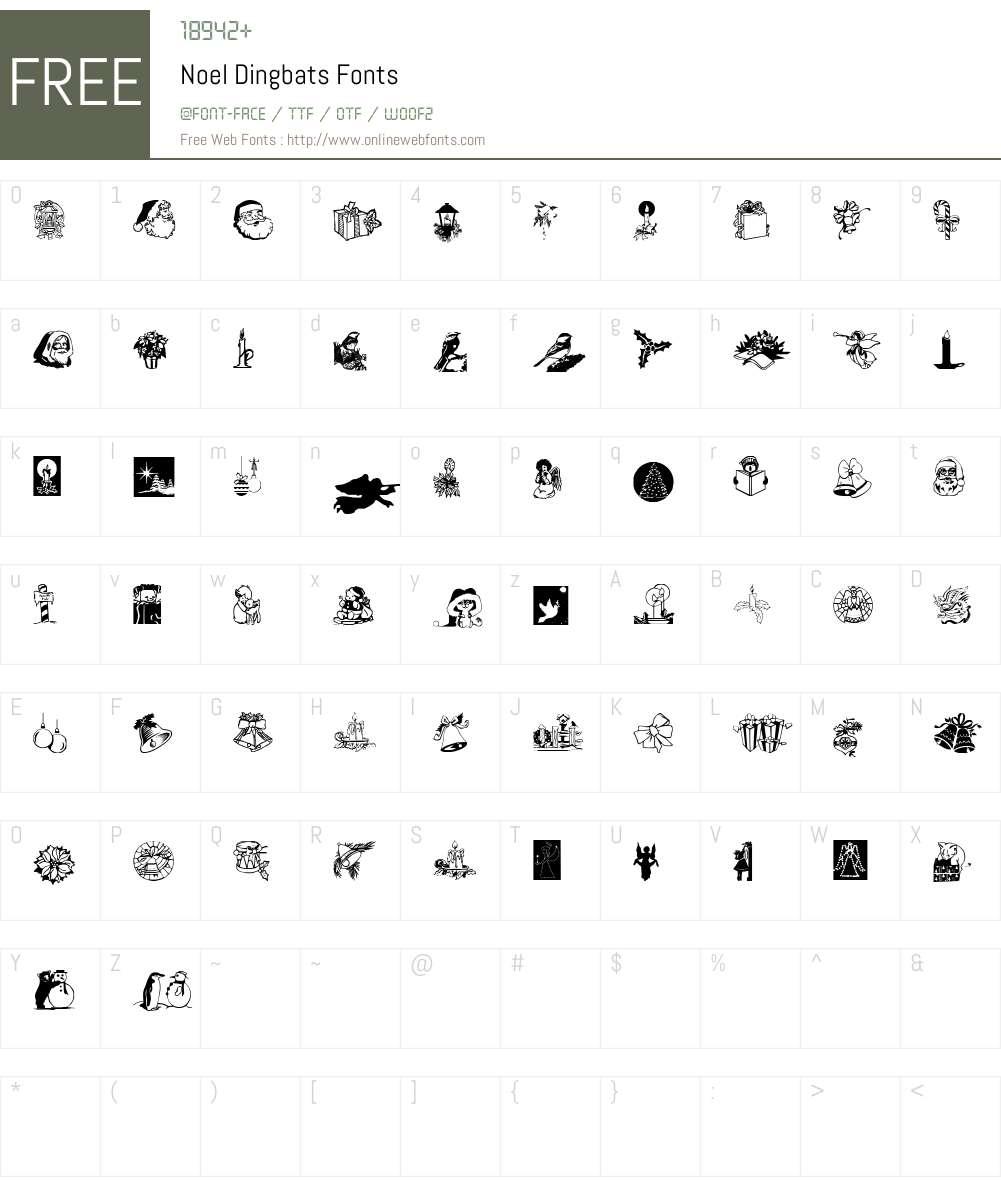 Noel Dingbats Font Screenshots