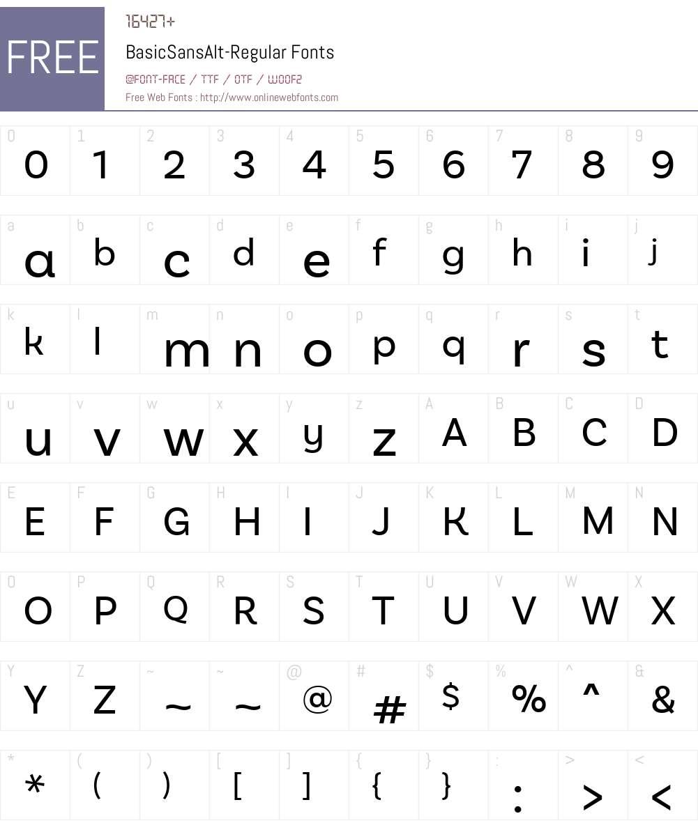 BasicSansAlt-Regular Font Screenshots