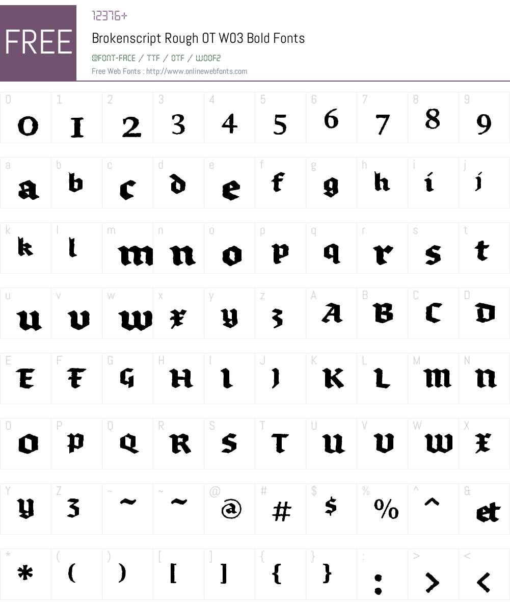 FF Brokenscript Rough Font Screenshots