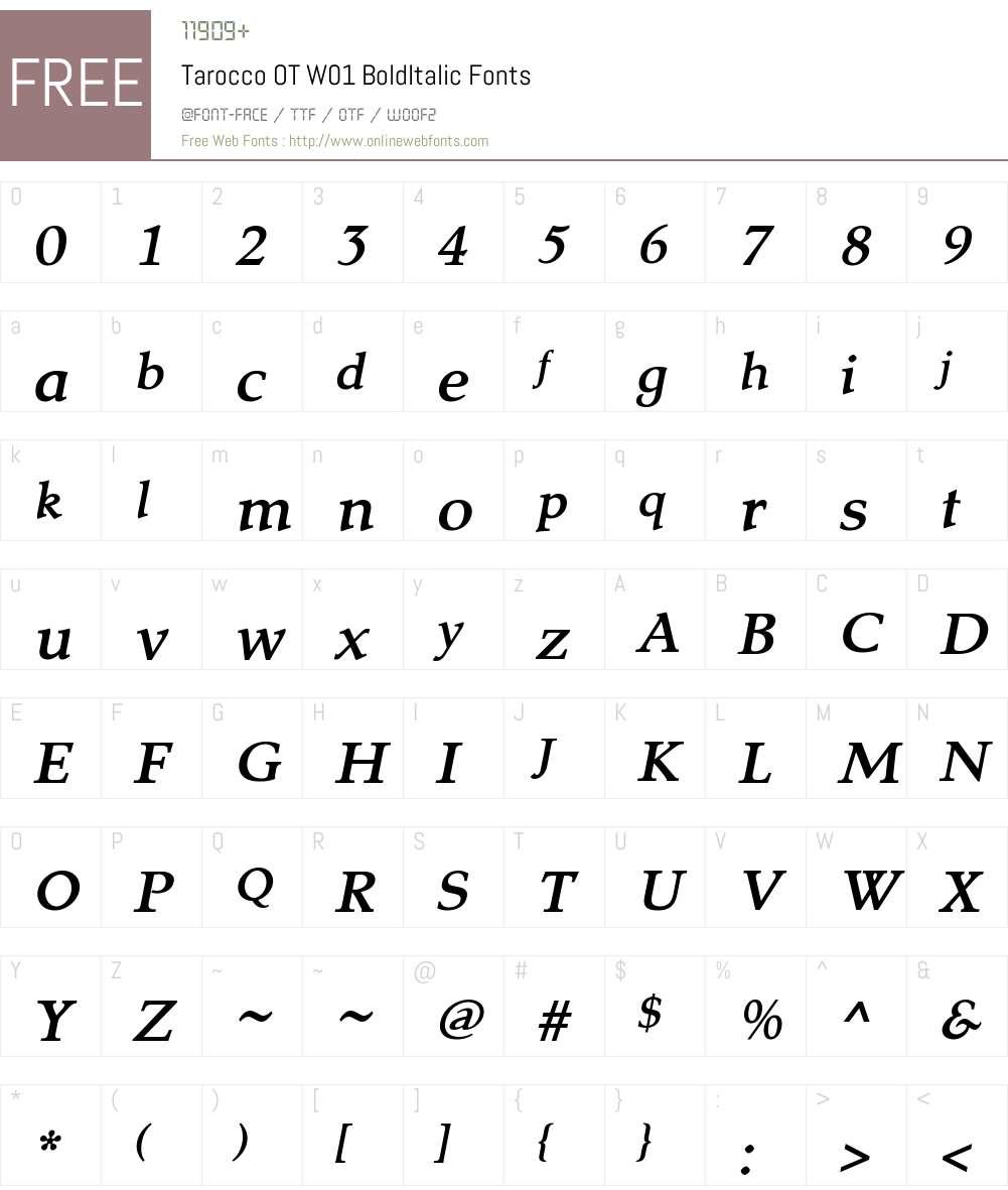 TaroccoOTW01-BoldItalic Font Screenshots