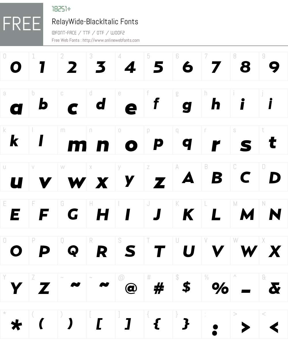 RelayWide-BlackItalic Font Screenshots