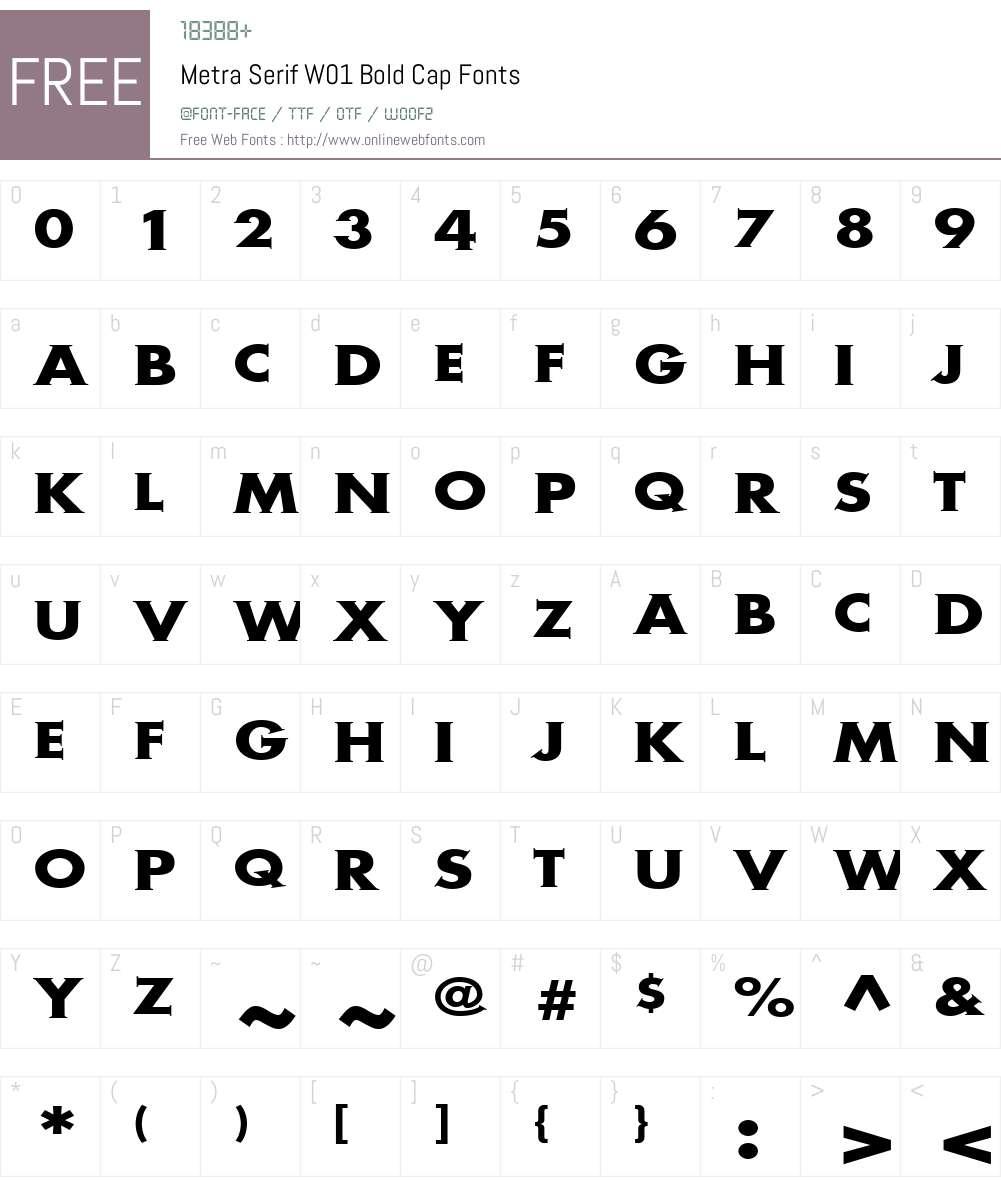 MetraSerifW01-BoldCap Font Screenshots