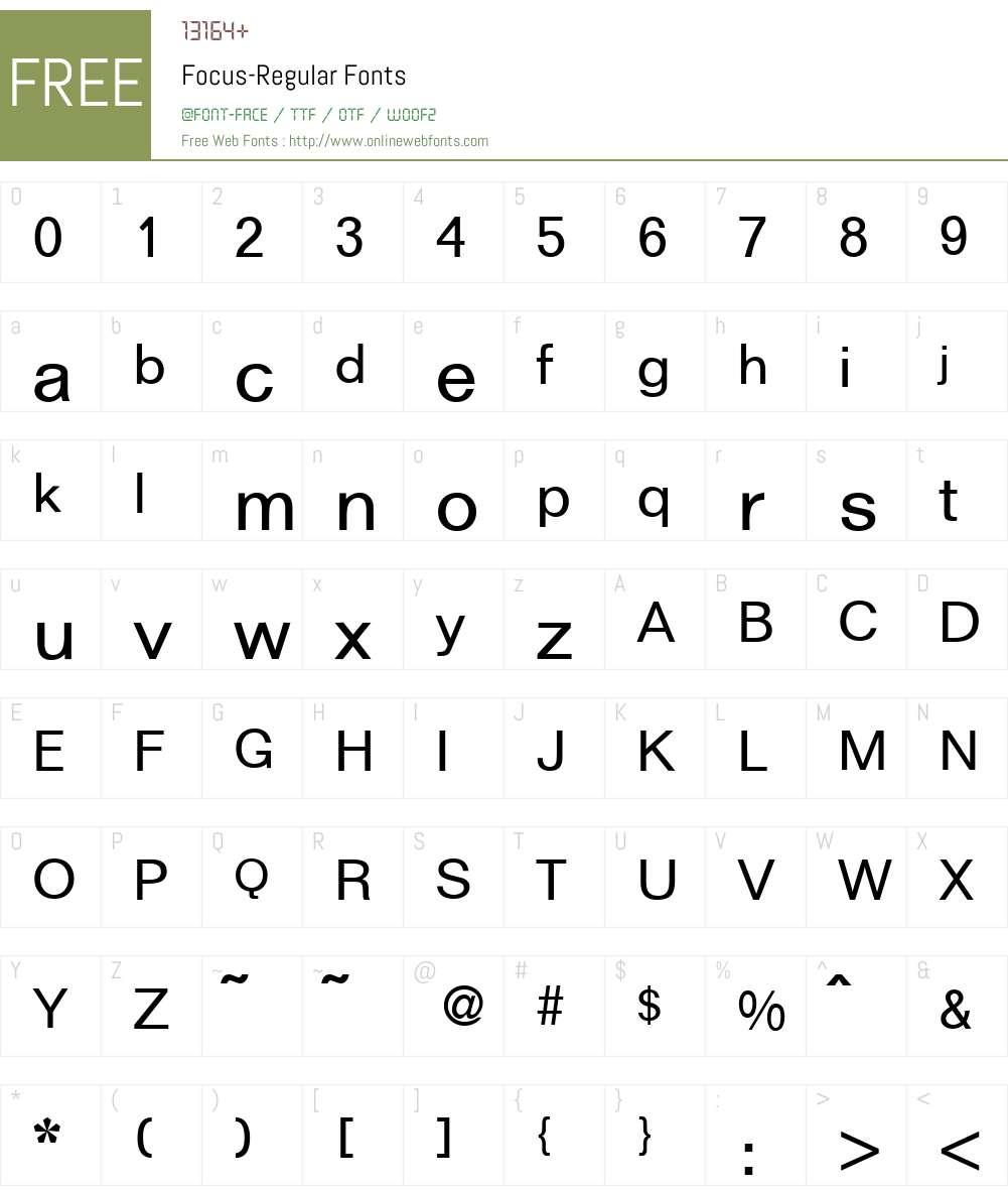 Focus Font Screenshots