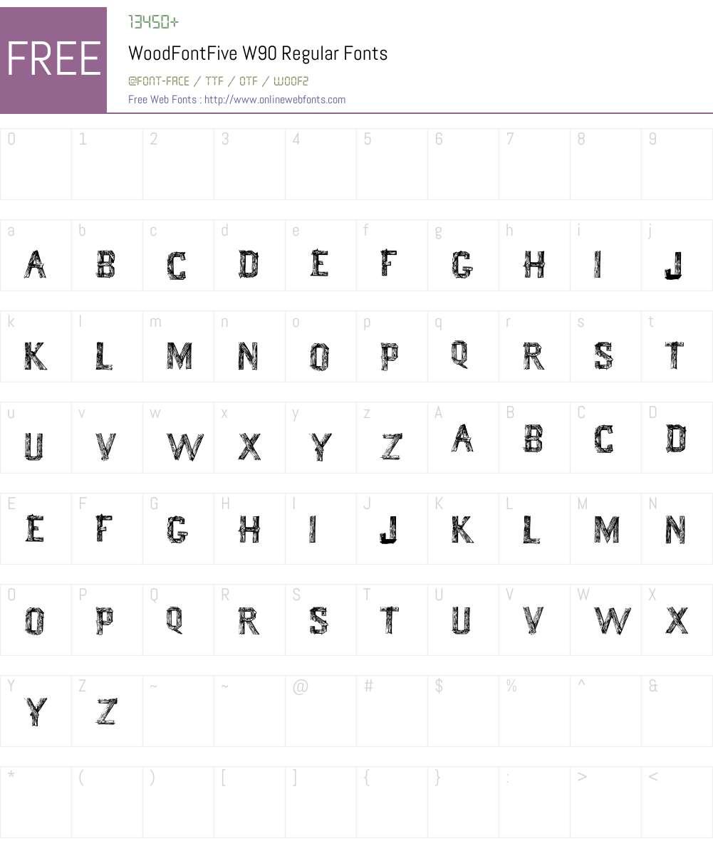 WoodFontFiveW90-Regular Font Screenshots