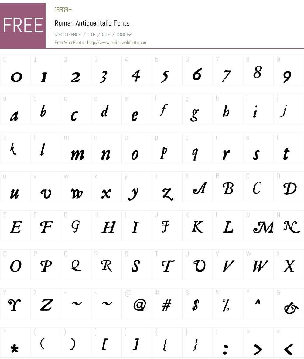 Roman Antique Font Screenshots