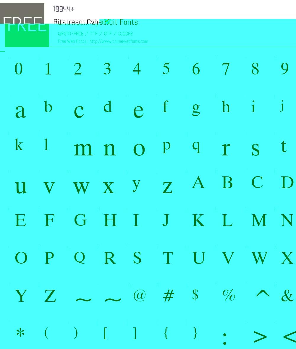 Bitstream Cyberbit Font Screenshots