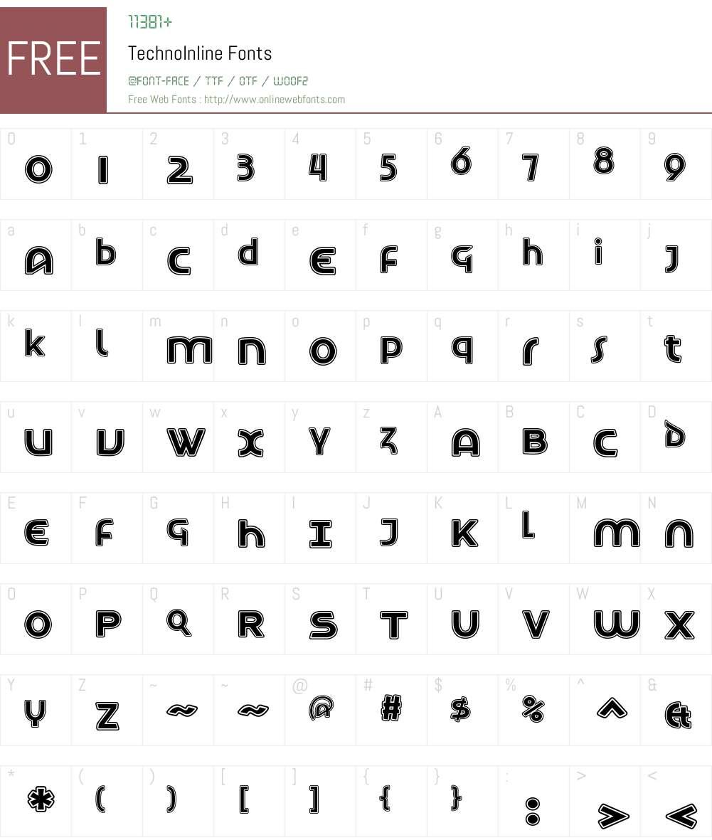 TechnoInline Font Screenshots