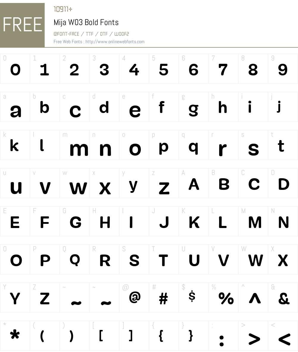 MijaW03-Bold Font Screenshots