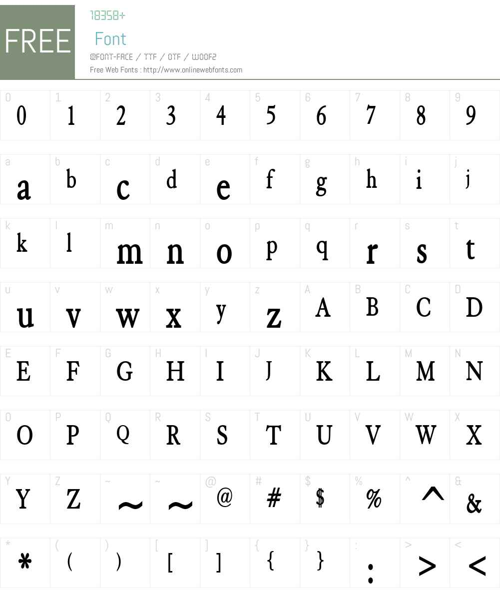 Elephant Condensed Font Screenshots