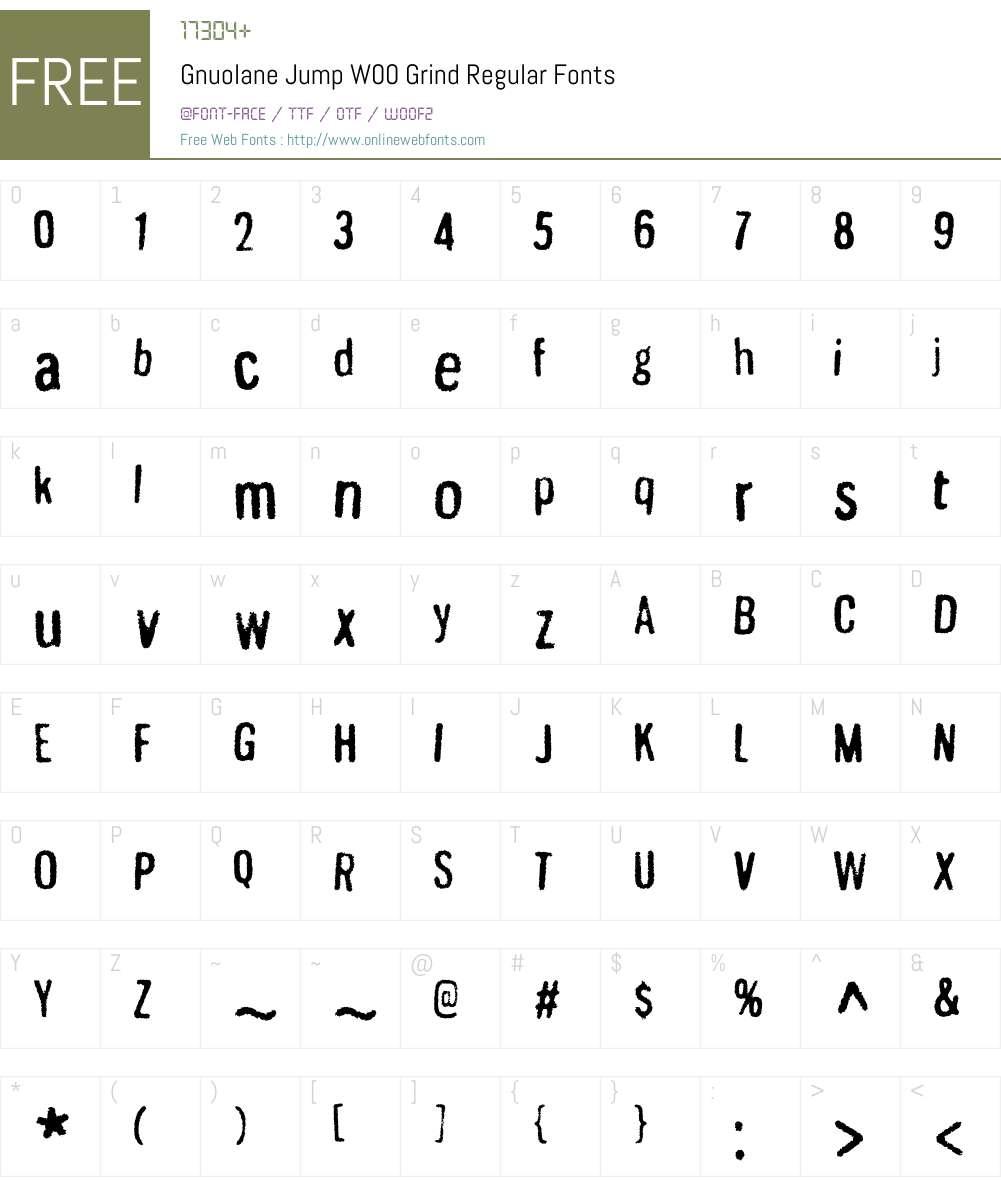 GnuolaneJumpW00-GrindRg Font Screenshots