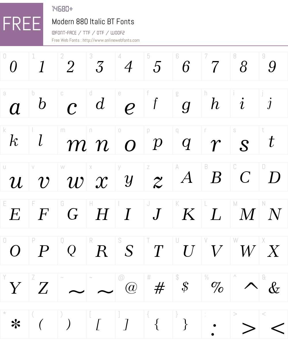 Modern880 BT Font Screenshots