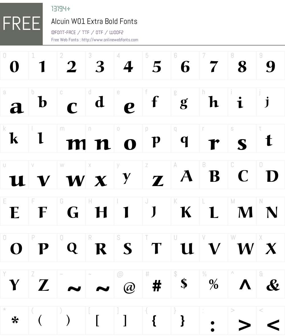 AlcuinW01-ExtraBold Font Screenshots