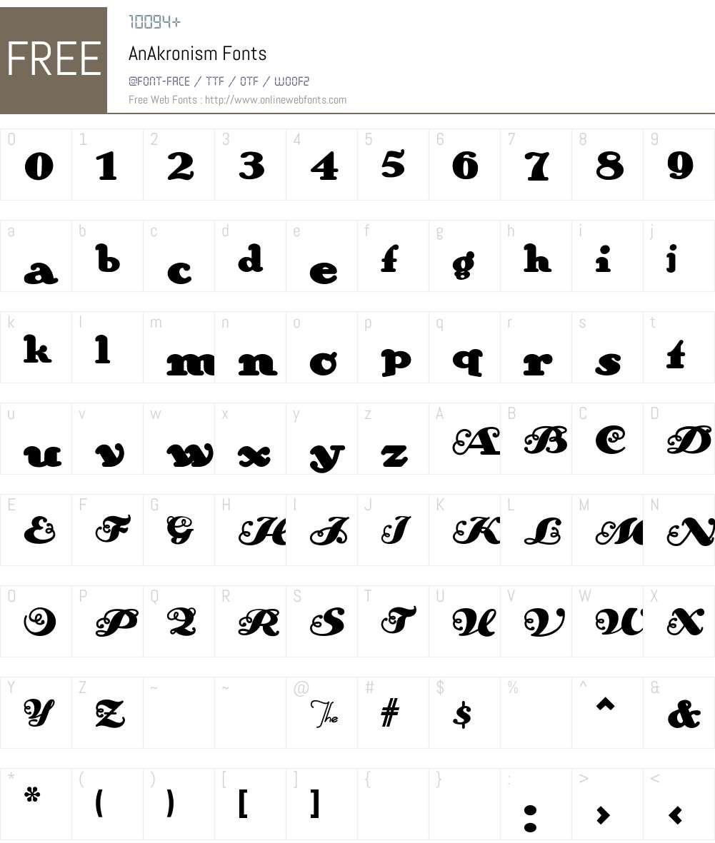 AnAkronism Font Screenshots