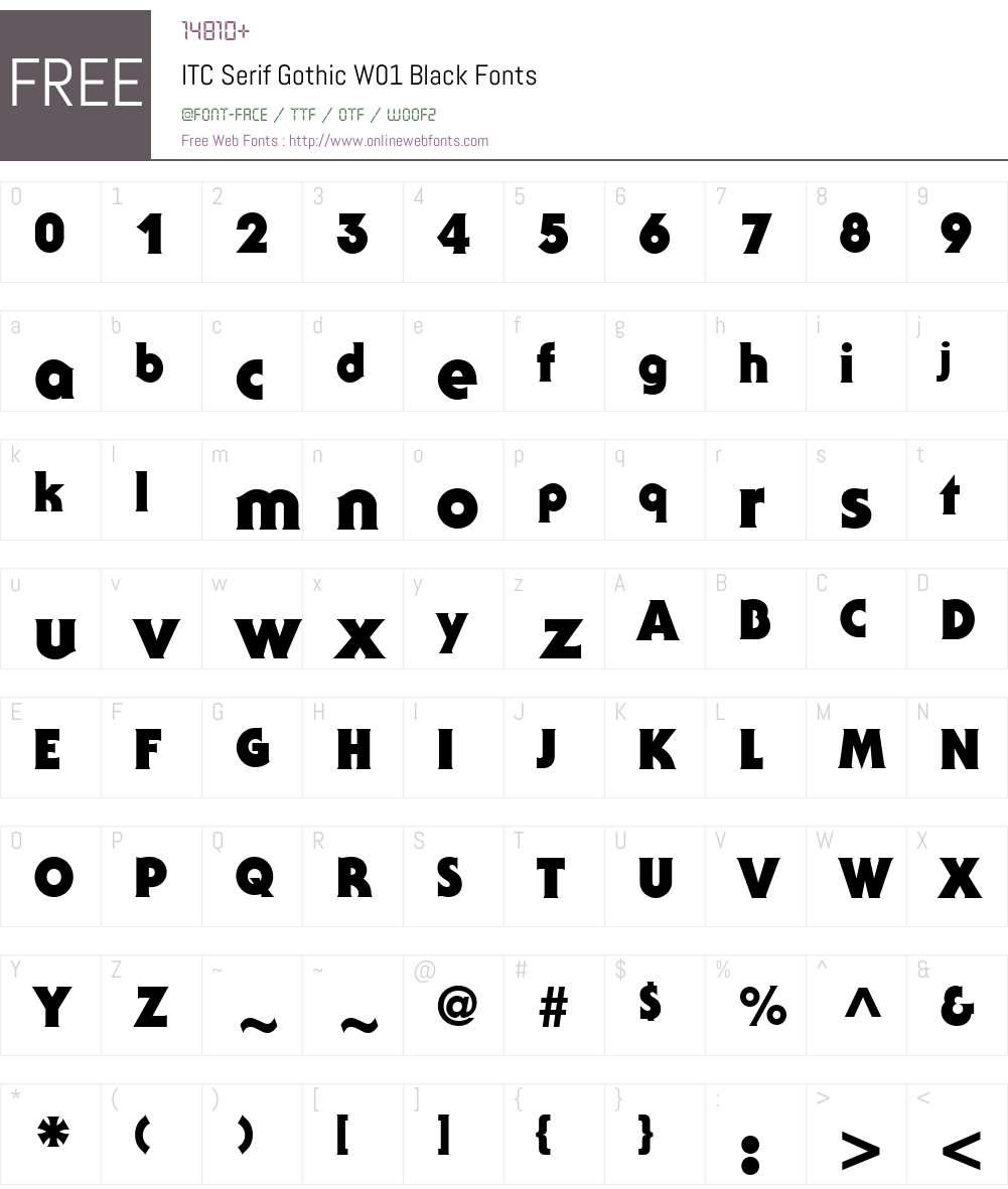 ITCSerifGothicW01-Black Font Screenshots