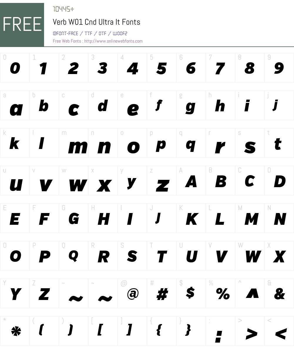 VerbW01-CndUltraIt Font Screenshots