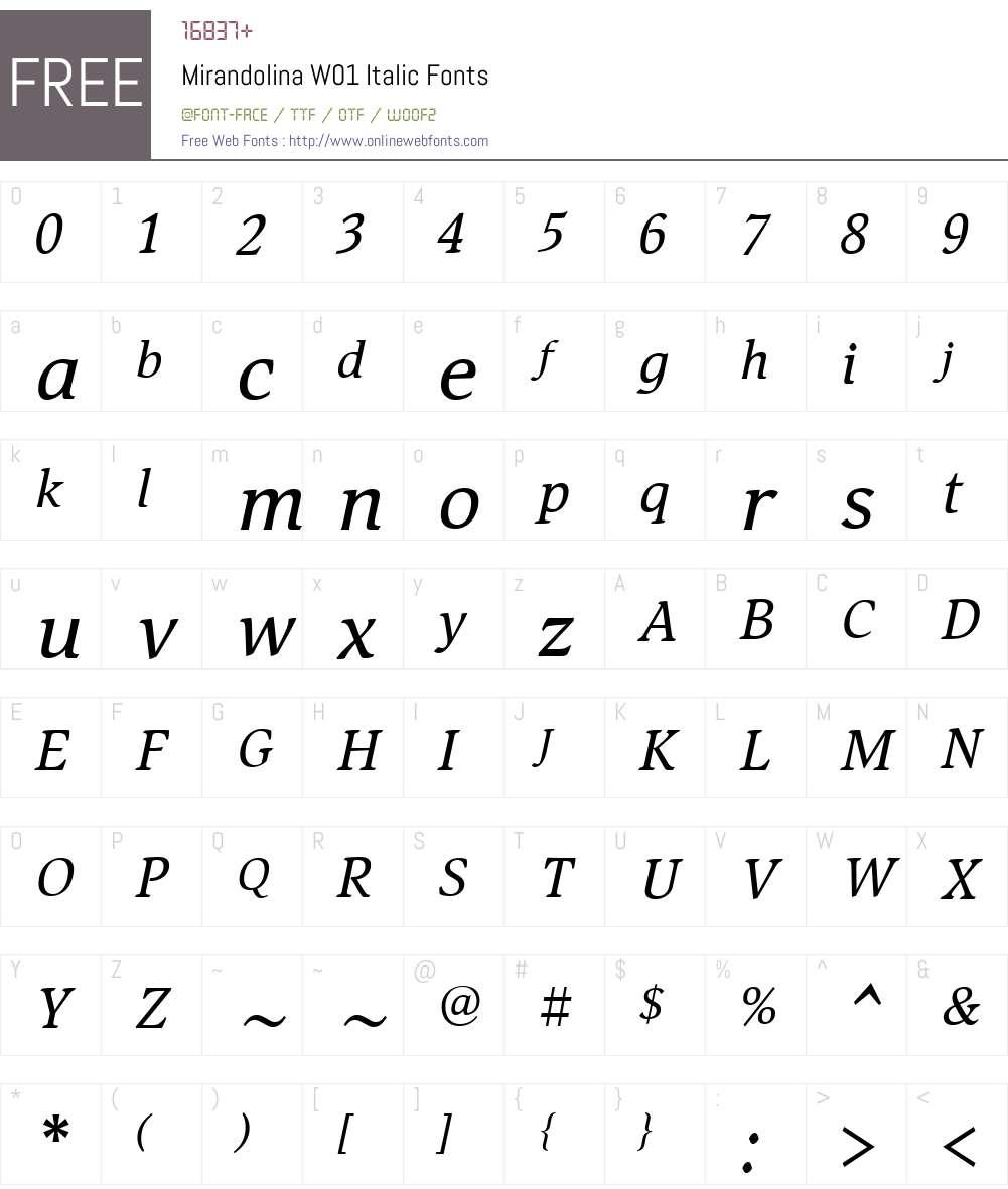 MirandolinaW01-Italic Font Screenshots