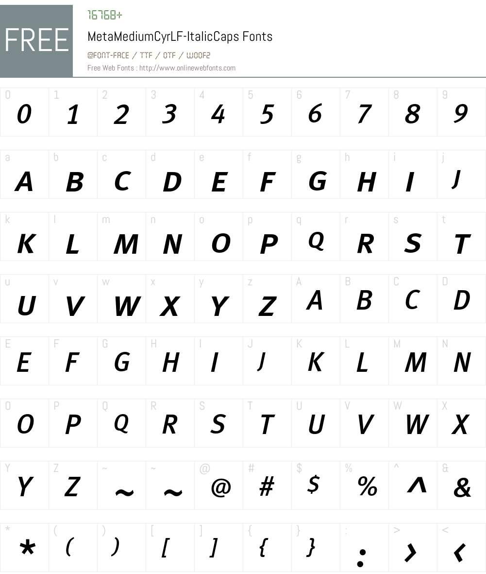 MetaMediumCyrLF-ItalicCaps Font Screenshots