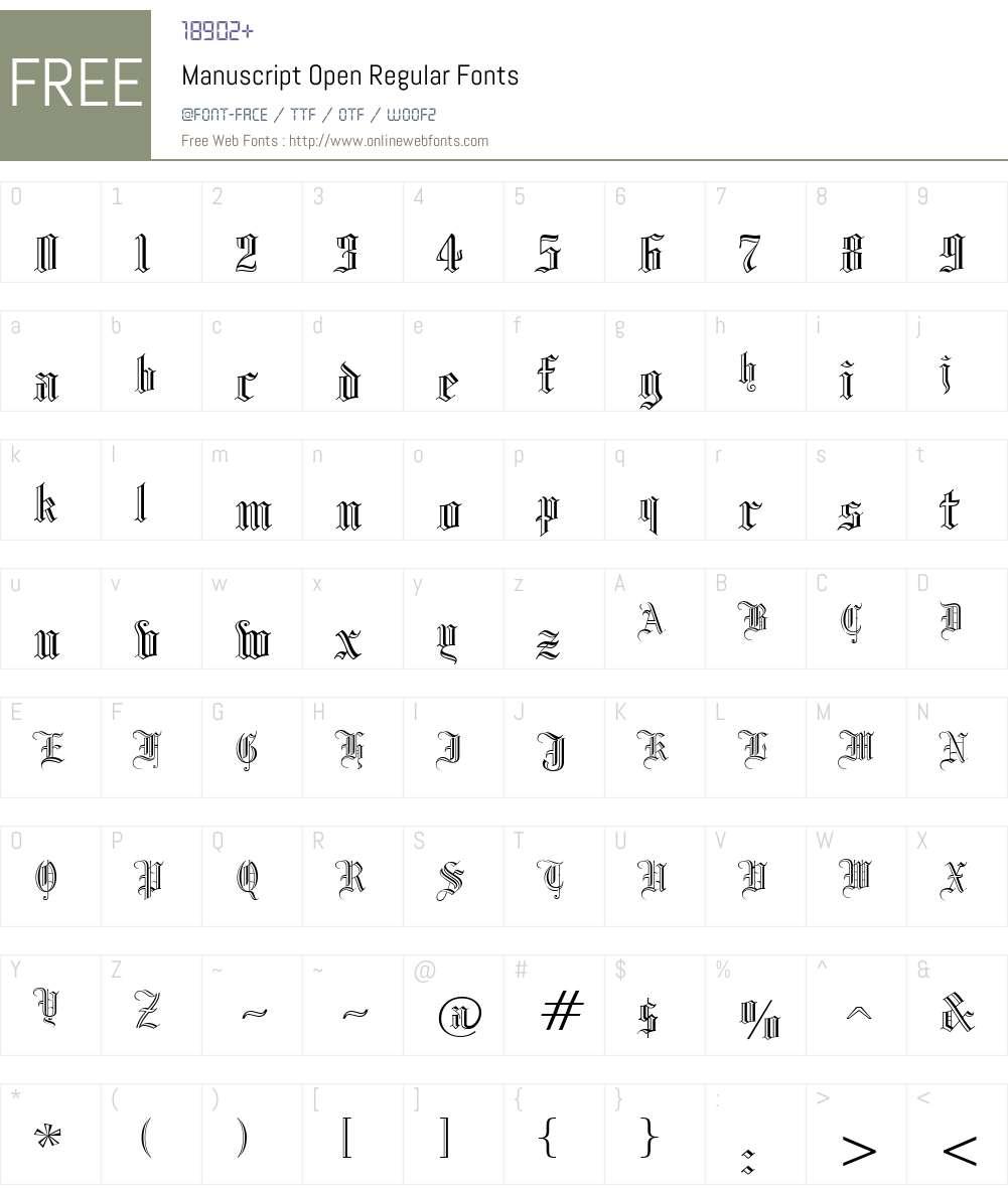 Manuscript Open Font Screenshots