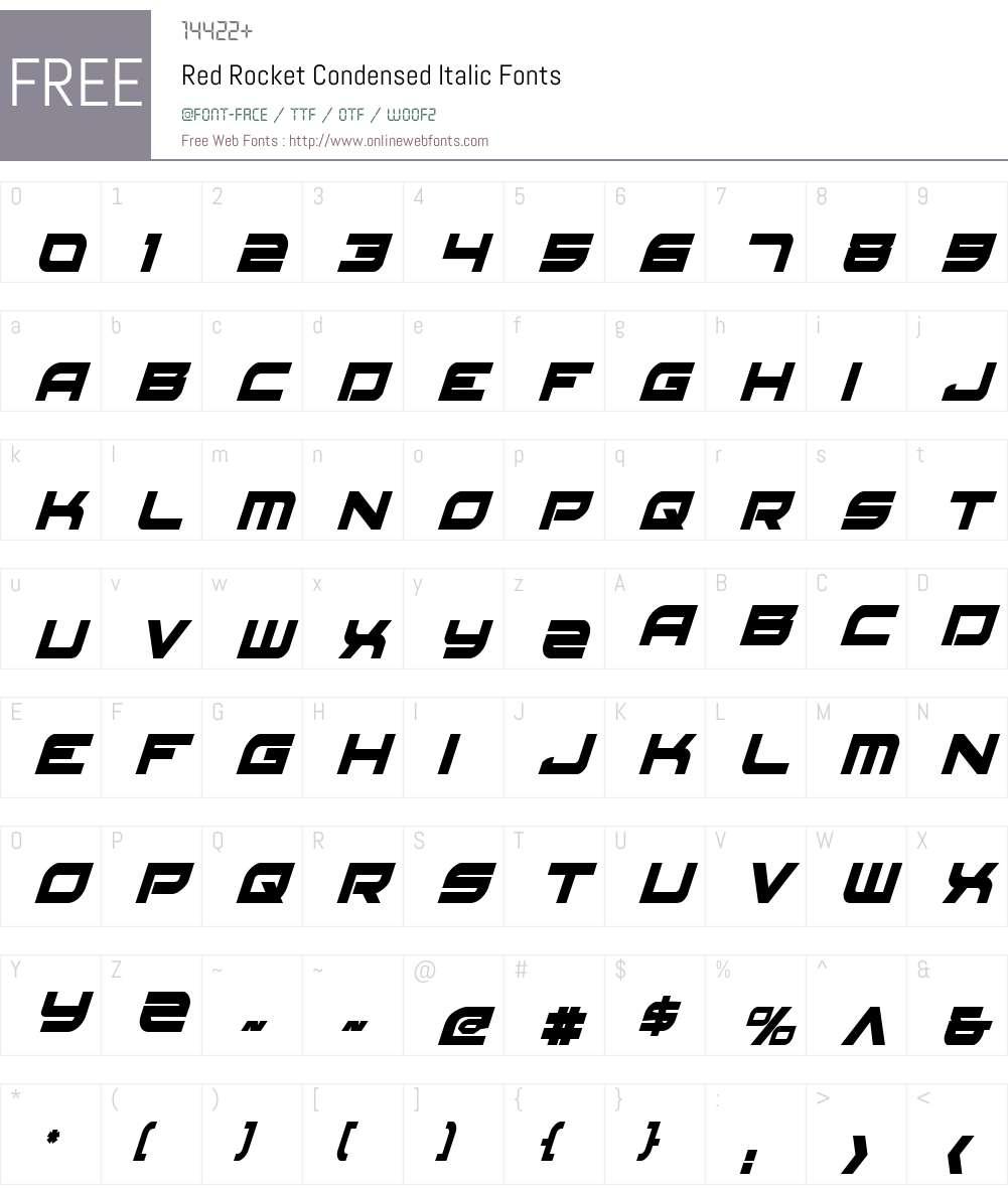 Red Rocket Condensed Italic Font Screenshots