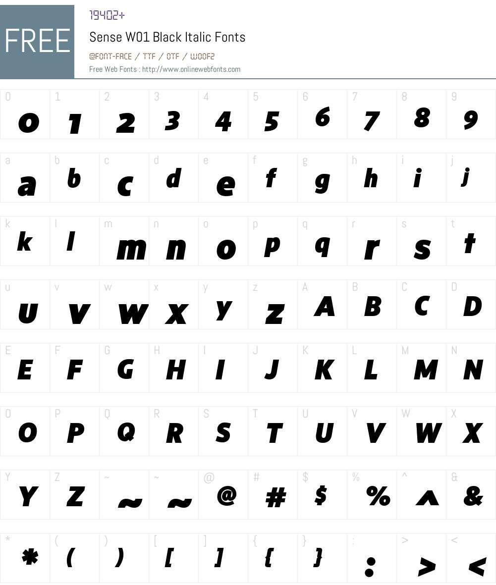 SenseW01-BlackItalic Font Screenshots