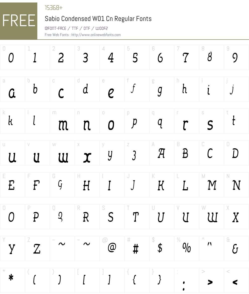 SabioCondensedW01-CnRegular Font Screenshots