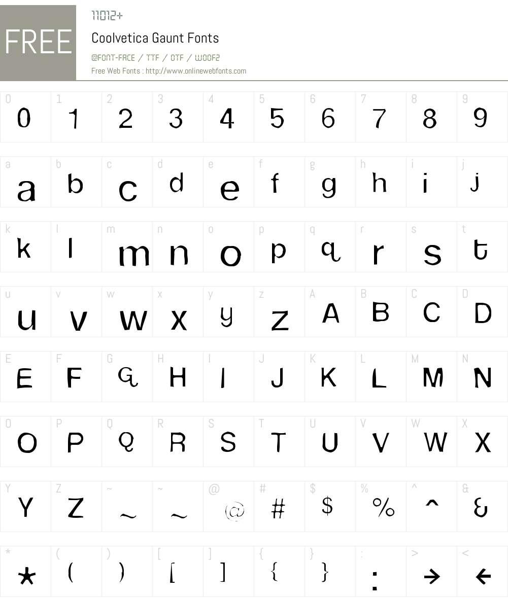Coolvetica Gaunt Font Screenshots