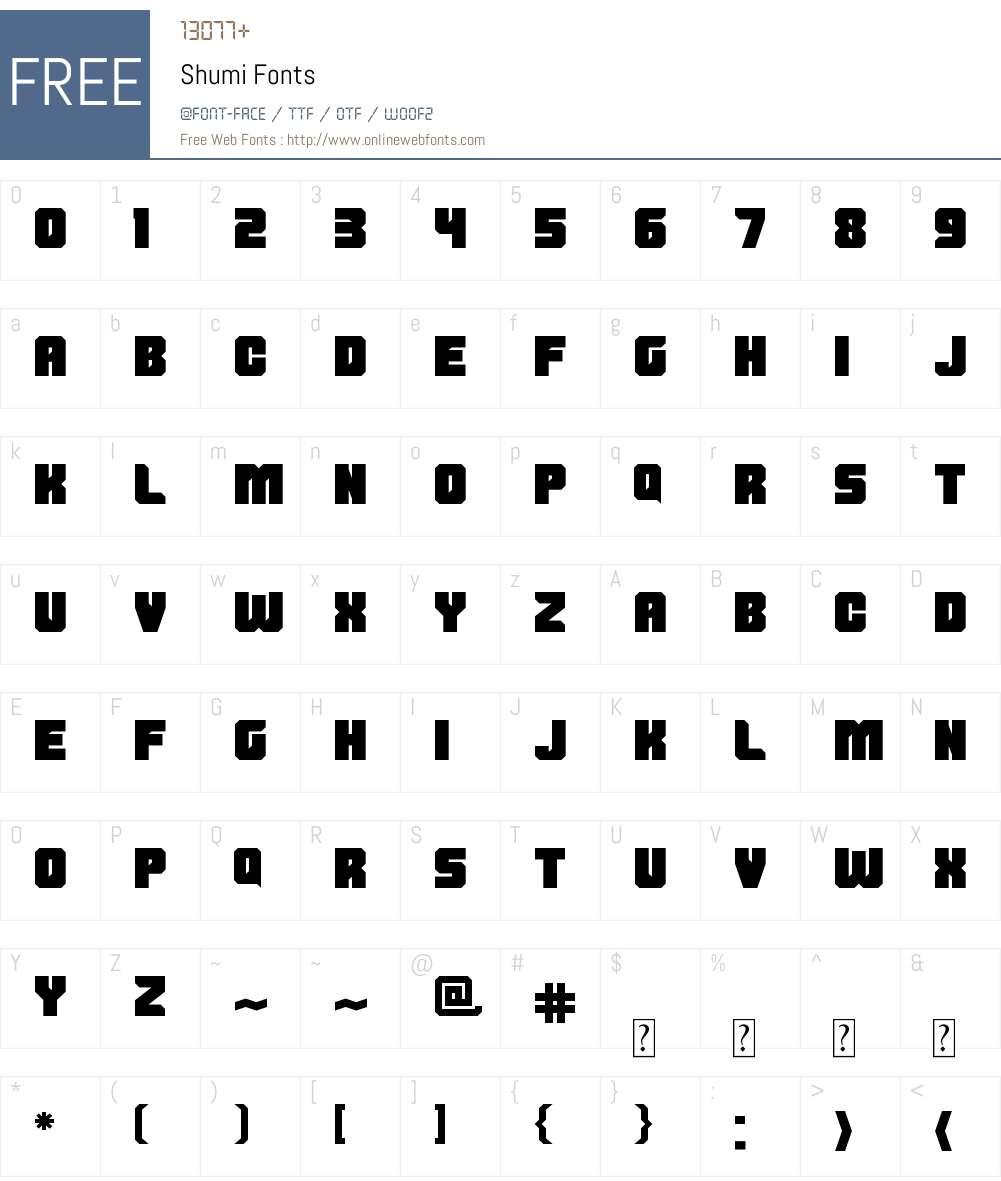 Shumi Font Screenshots