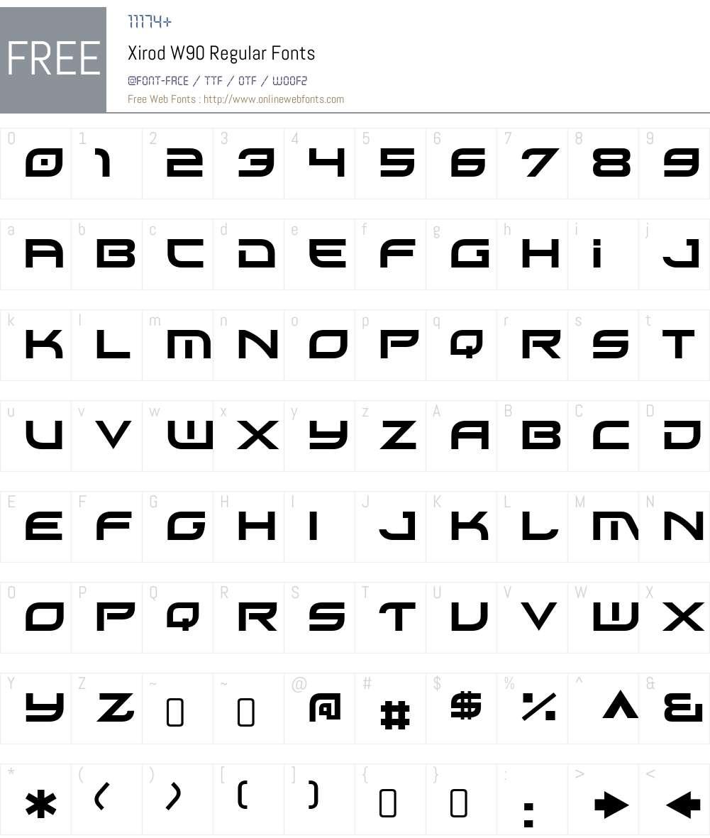 XirodW90-Regular Font Screenshots