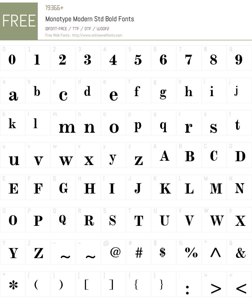 Monotype Modern Std Font Screenshots