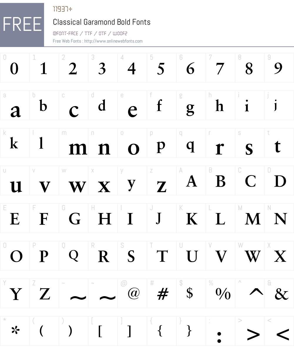 Classical Garamond Font Screenshots