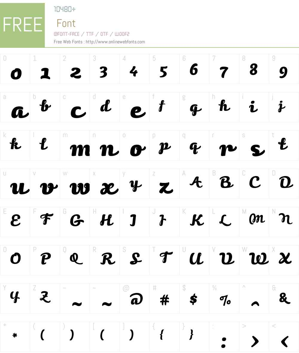 Volupia Font Screenshots