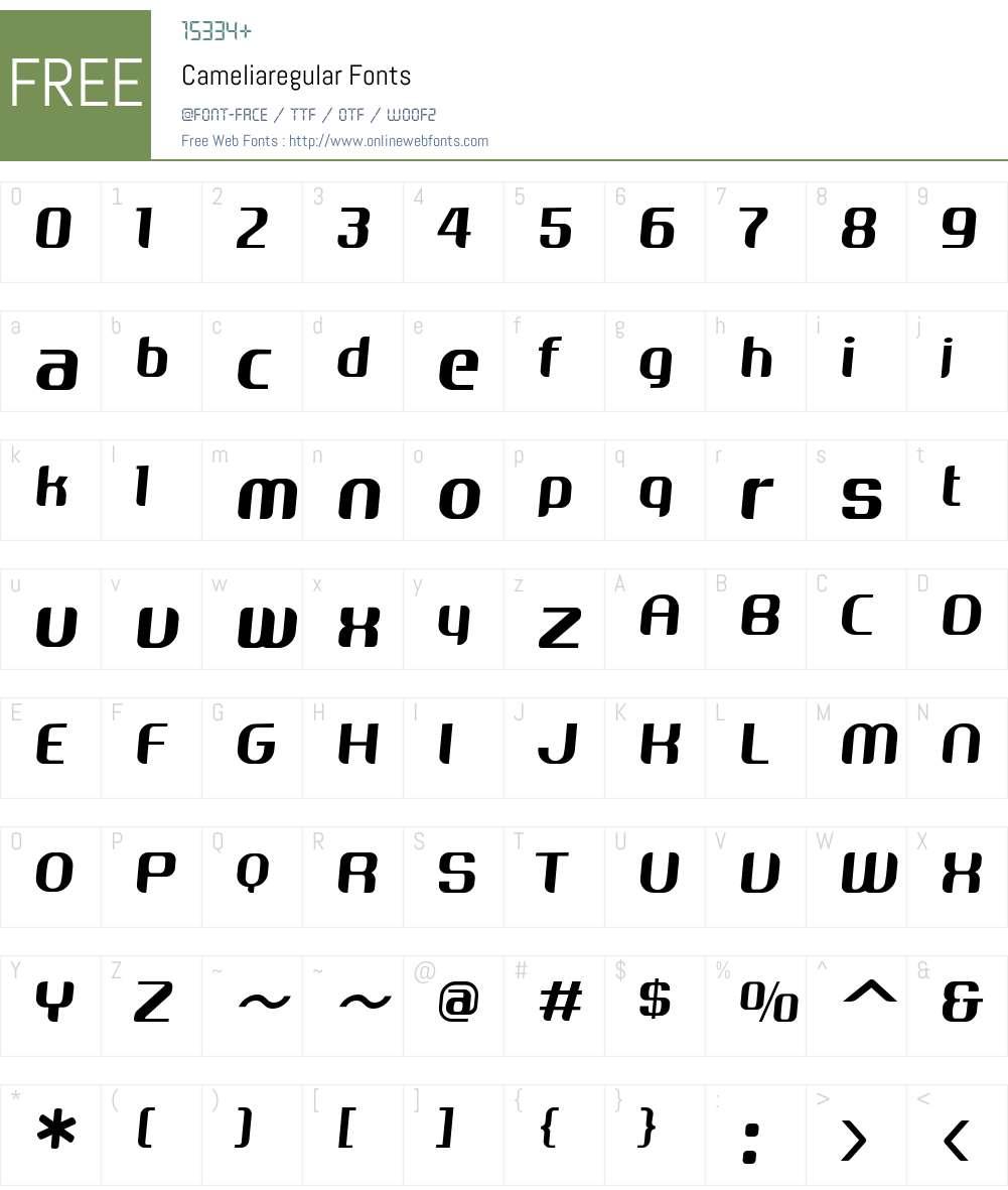 Cameliaregular Font Screenshots