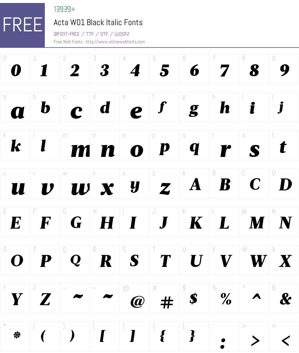 ActaW01-BlackItalic Font Screenshots