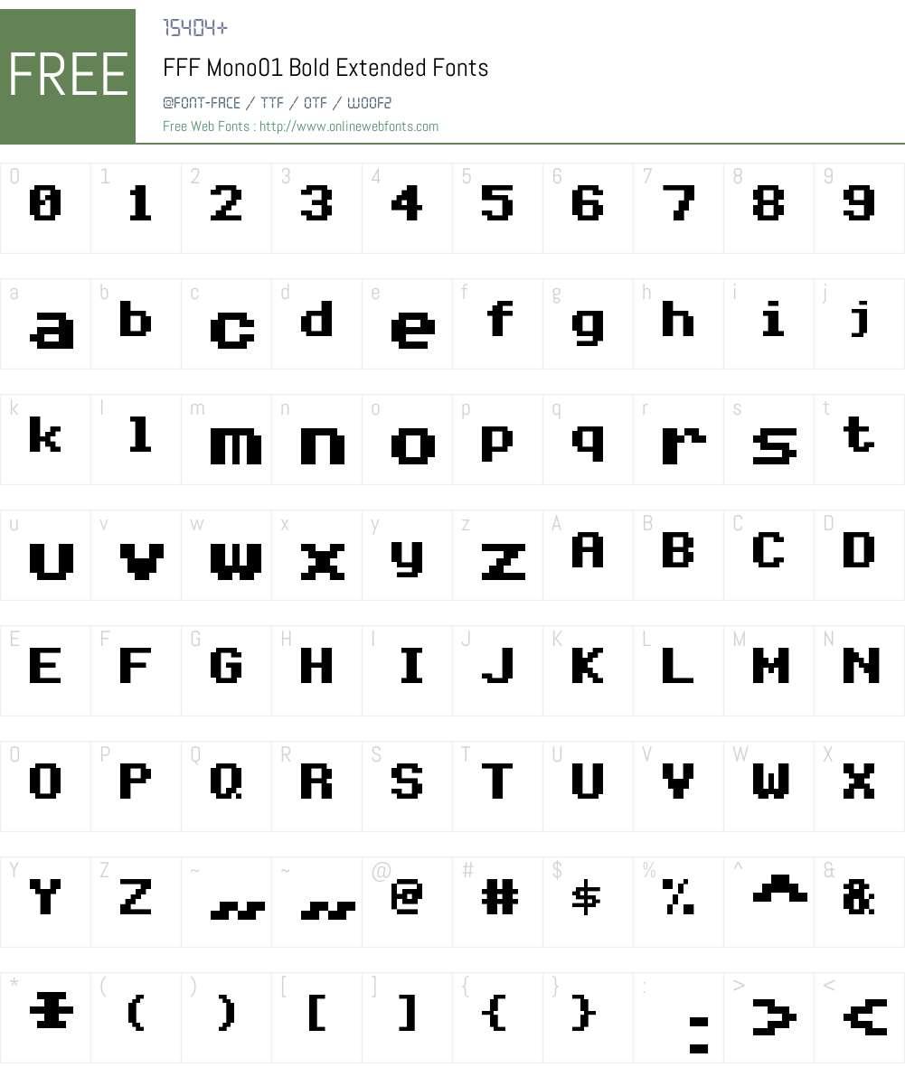 FFF Mono01 Bold Extended Font Screenshots