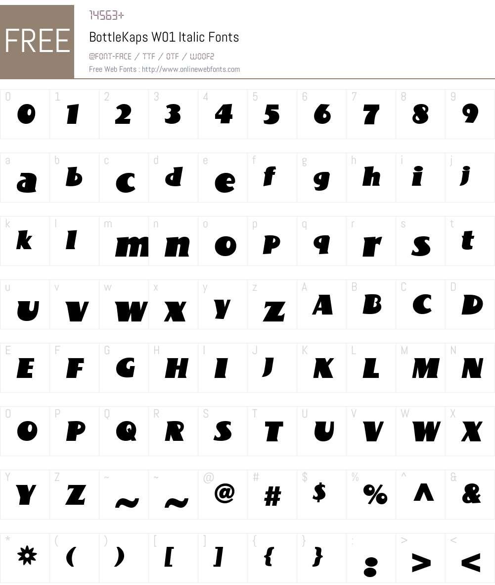 BottleKapsW01-Italic Font Screenshots