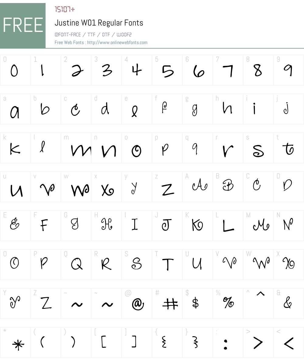JustineW01-Regular Font Screenshots