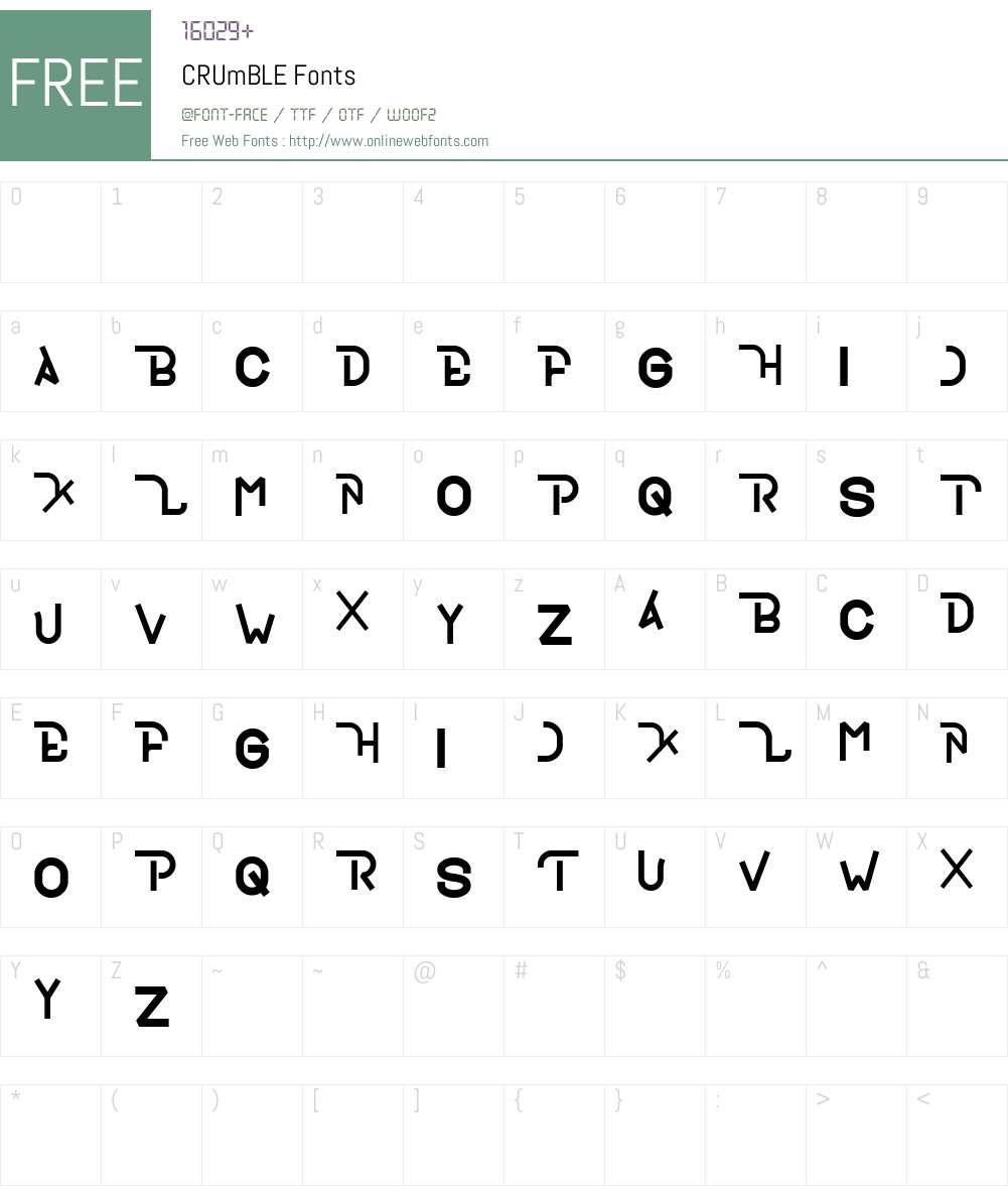 CRUmBLE Font Screenshots
