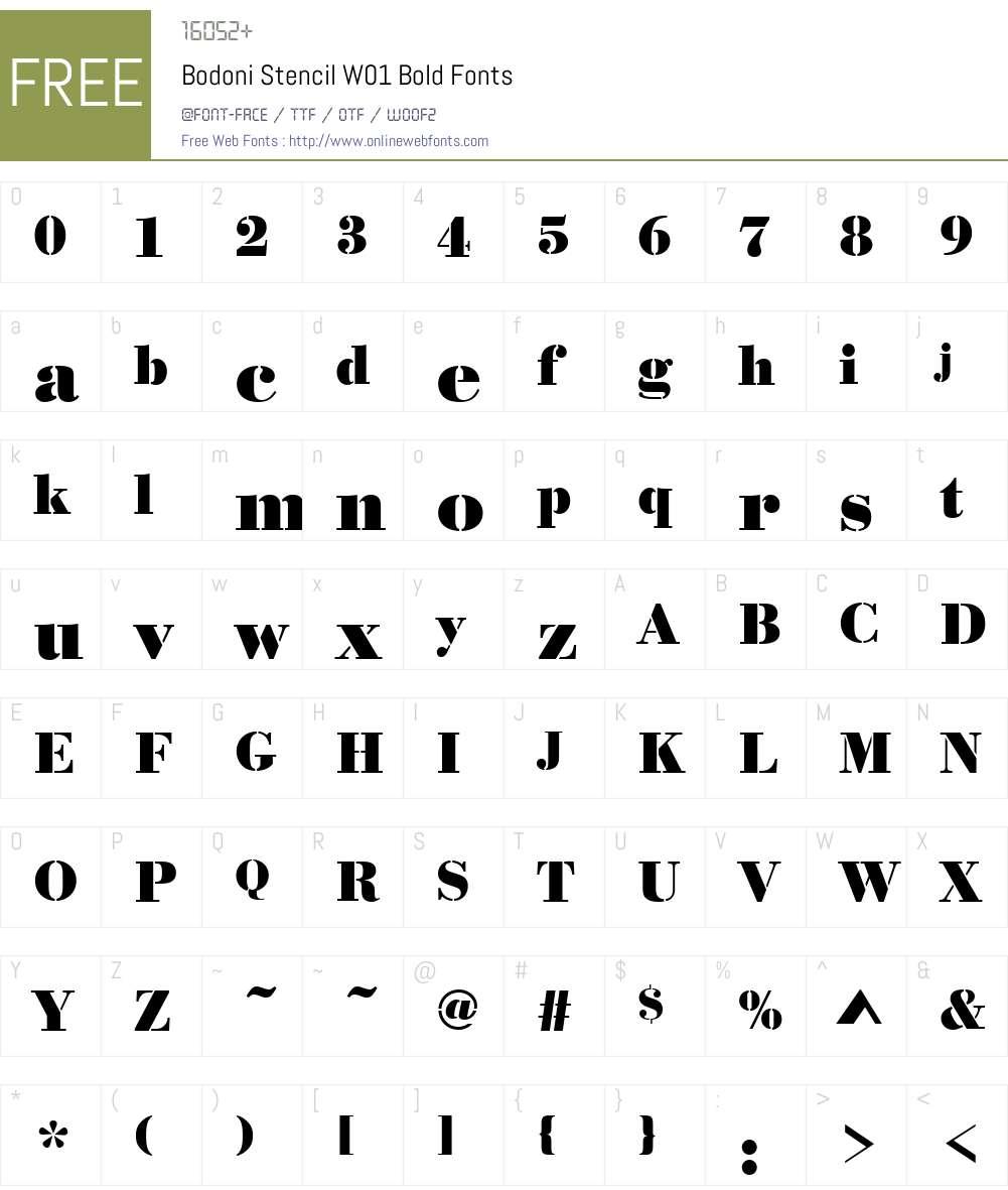 BodoniStencilW01-Bold Font Screenshots