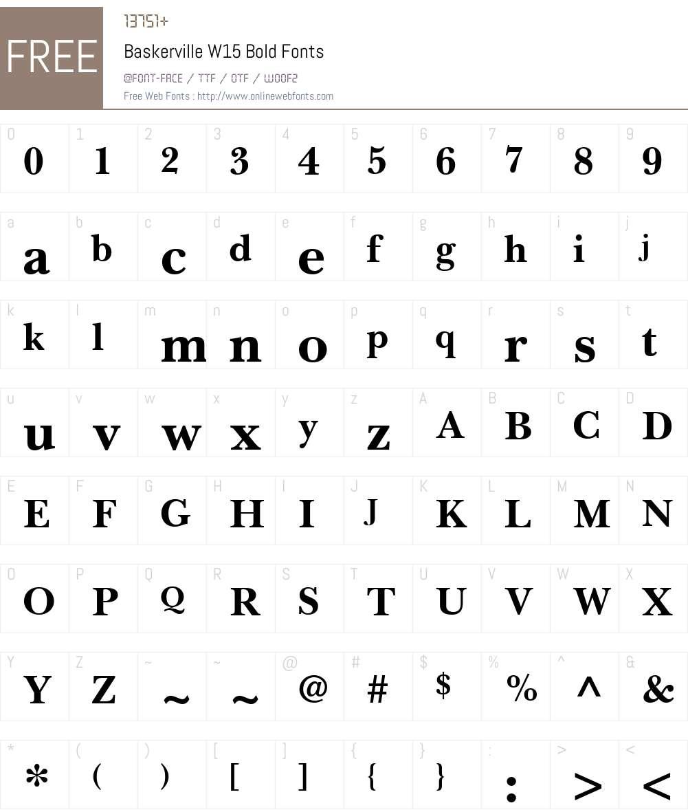 BaskervilleW15-Bold Font Screenshots