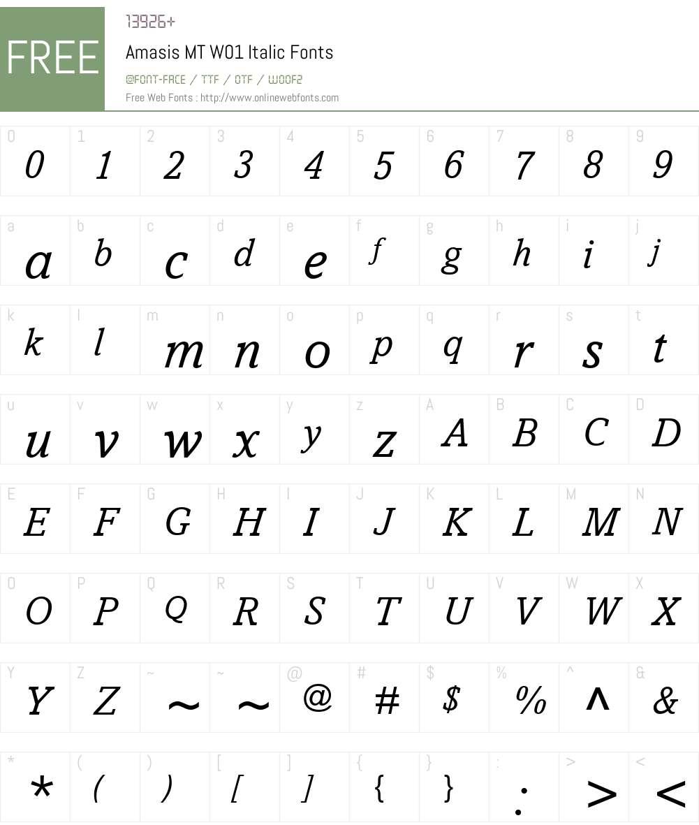 AmasisMTW01-Italic Font Screenshots