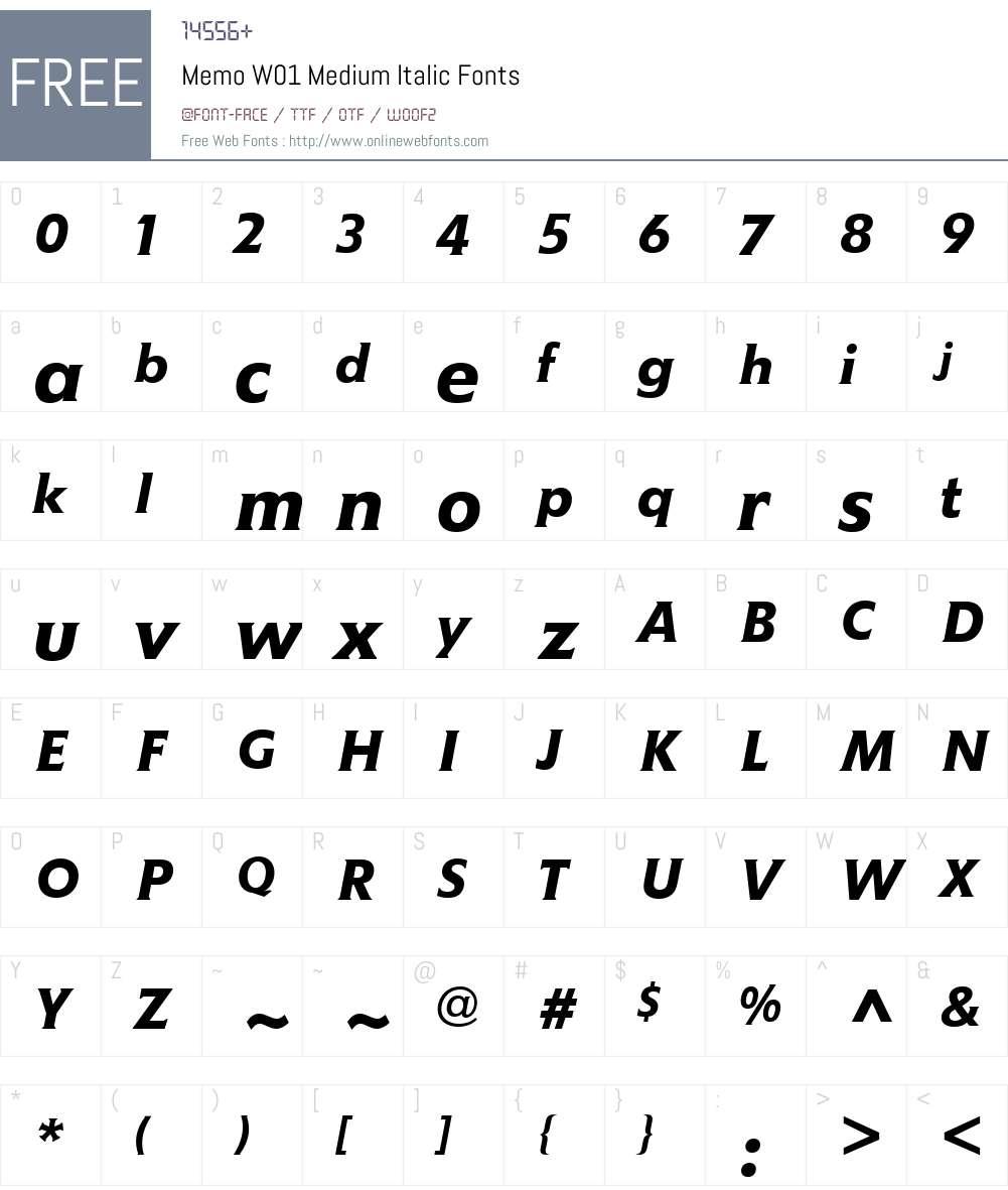 MemoW01-MediumItalic Font Screenshots