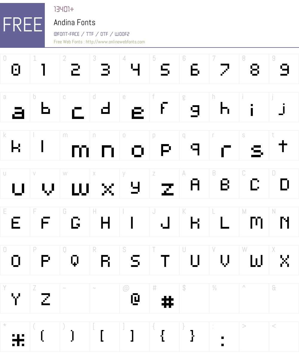 Andina Font Screenshots