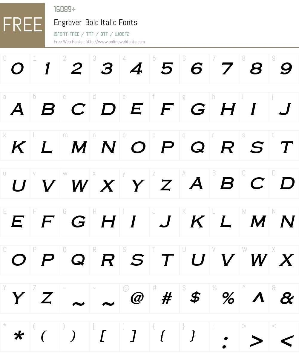 Engraver Font Screenshots
